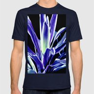 Indigo Blue Flower Mens Fitted Tee Navy SMALL