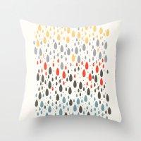 Rainbow Drops Throw Pillow