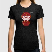 ChibizPop: Faster Than..… Womens Fitted Tee Tri-Black SMALL