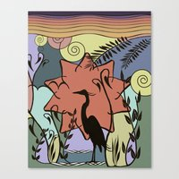 Heron And Sun Canvas Print