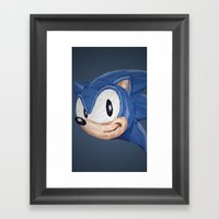 Triangles Video Games Heroes - Sonic Framed Art Print