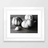 Garlic Black and White Food Photography Framed Art Print