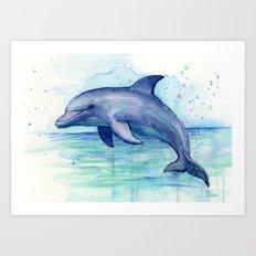 Dolphin Watercolor Sea Creature Art Art Print