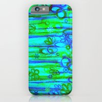 WINTER GARDEN -Bright Blue Green Neon Snowflake Floral Abstract Watercolor Painting and Digital Art iPhone 6 Slim Case