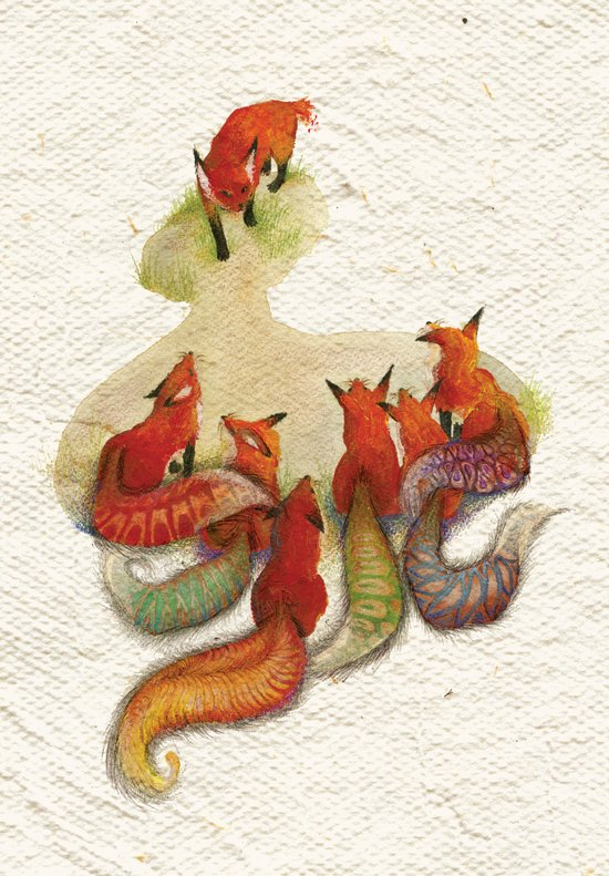 aesop's fable - the fox and his tail Art Print