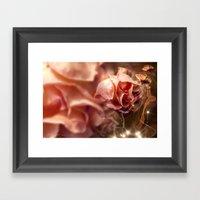Peach Rose and Ribbons Framed Art Print