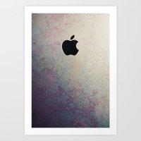 Purple Grunge Apple Art Print