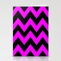 Black & Pink Chevron Lin… Stationery Cards