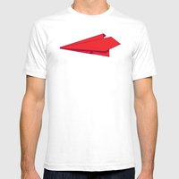 Paper plane Mens Fitted Tee White SMALL