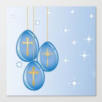 Shiny blue hanging eggs decorated with gold crosses Canvas Print