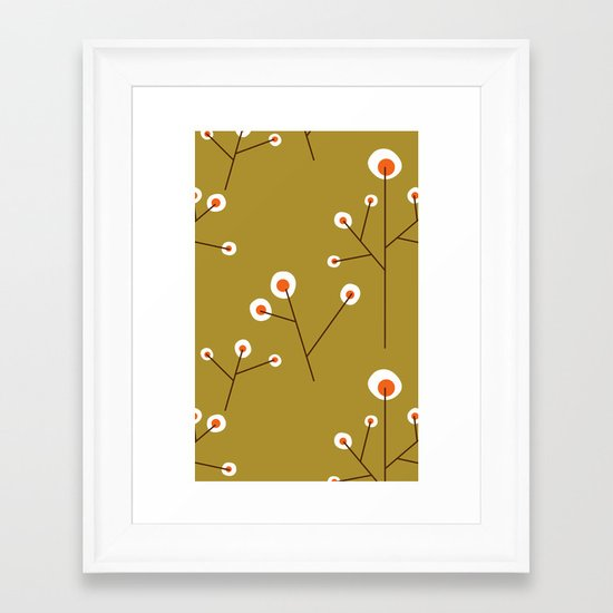 Retro Green Pattern Design Framed Art Print