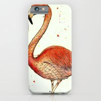 iPhone & iPod Case featuring Colourful Flamingo  by katieellen