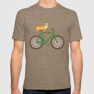 Corgi On A Bike Mens Fitted Tee Tri-Coffee MEDIUM