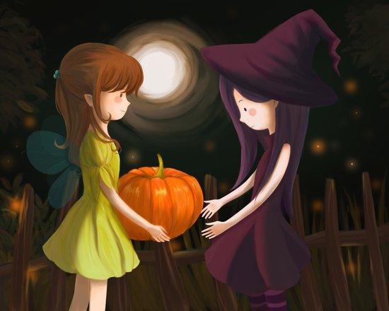 Pumpkin Girls Canvas Print