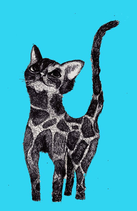 Giraffe Cat 2. Art Print