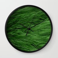 Green Feathers Wall Clock