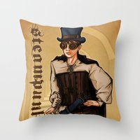 Steampunk Lady Throw Pillow