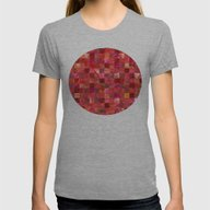 Red Geometric Pattern Womens Fitted Tee Athletic Grey LARGE
