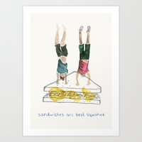 Handstand Sandwiches Art Print