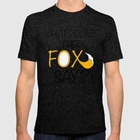 What Does The Fox Say  Mens Fitted Tee Tri-Black SMALL