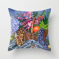 Plastic Fruits And Flowe… Throw Pillow