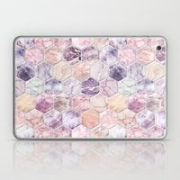 Rose Quartz and Amethyst Stone and Marble Hexagon Tiles Laptop & iPad Skin