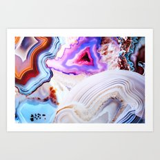 Agate, a vivid Metamorphic rock on Fire Art Print