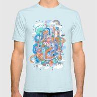 George's Place Mens Fitted Tee Light Blue SMALL