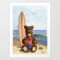 Surfer Bear Art Print