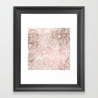 Chic hand drawn rose gold floral mandala pattern Framed Art Print