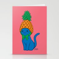 Blue Cat Wears Pineapple… Stationery Cards