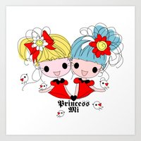 Princessmi illustration Two happy girls Art Print
