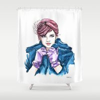 Girl With the Purple Gloves Shower Curtain
