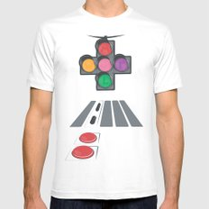 N Street Traffic Light SMALL Mens Fitted Tee White