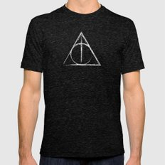 Deathly Hallows (Harry Potter) Mens Fitted Tee Tri-Black SMALL