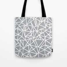 Abstract Outline Thick White on Grey Tote Bag