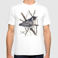 Grey Birdy 2 Mens Fitted Tee SMALL White