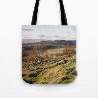 Trees on a hillside at sunset. Upper Padley, Derbyshire, UK. Tote Bag