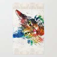 Rug featuring Colorful Cat Art By Shar… by Sharon Cummings