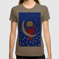 Owl lands on the moon Womens Fitted Tee Tri-Coffee SMALL