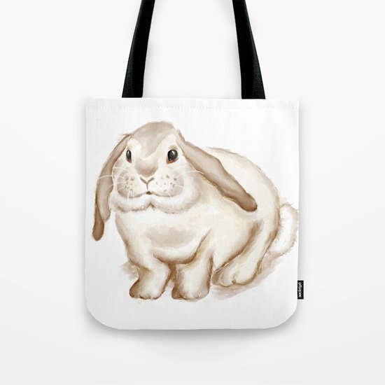Watercolor Bunny Tote Bag
