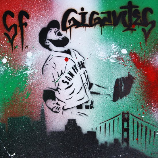 Mexican flag themed Sergio Romo SF Giants Gigantes Aerosol Stencil Art Painting Canvas Print