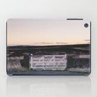 White gate leading to moorland at twilight. Derbyshire, UK. iPad Case
