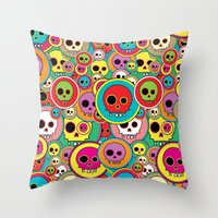 Button Skulls Throw Pillow