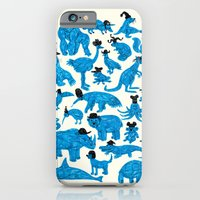 iPhone & iPod Case featuring Blue Animals Black Hats by WanderingBert / David Creighton-Pester