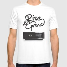 Rise & Grind White Mens Fitted Tee SMALL