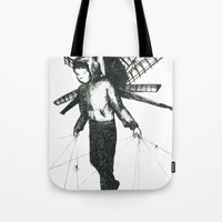 boy draws wings Tote Bag