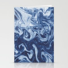 Yutaka - spilled ink marbled paper marbling swirl india ink minimal modern blue indigo pattern Stationery Cards