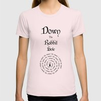 Alice In Wonderland Down The Rabbit Hole Womens Fitted Tee Light Pink SMALL