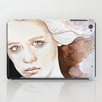 A windy moment, emotional watercolor portraiture iPad Case